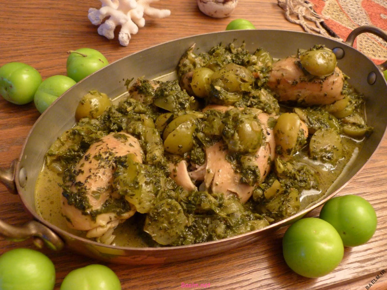 روش پخت مخلوط خورشت گوجه سبز با چغاله بادام