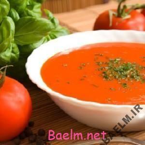 طرز تهیه سوپ گوجه فرنگی و ریحان تازه