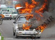 یک راننده در تصادف و آتش سوزی پراید سوخت