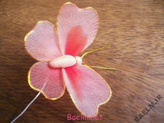 ساخت كاردستي بسيار زيبا با جوراب   پروانه جورابي