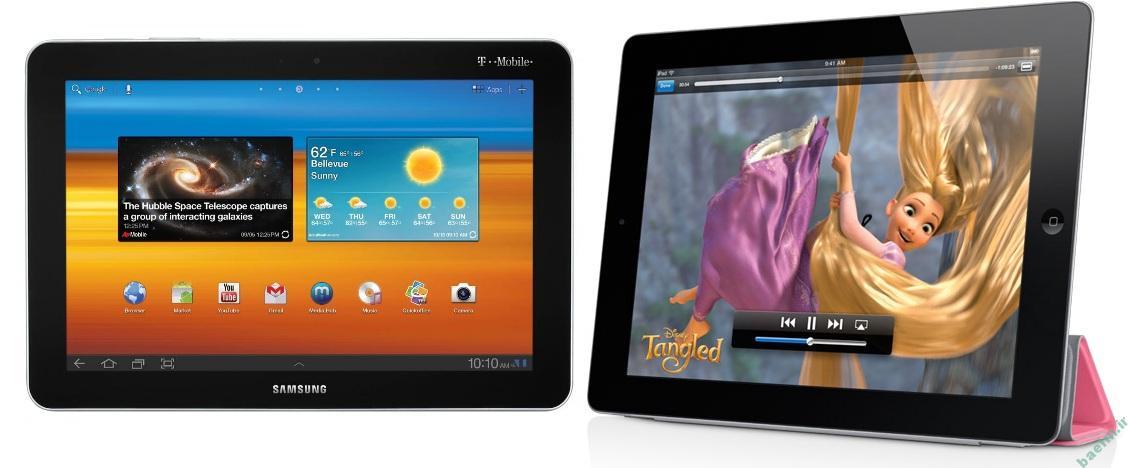 موبایل   مقایسه ی ویژگی های تبلت Galaxy Tab 2 و Apple iPad
