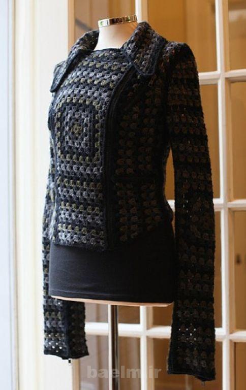 لباس زنانه قلاب بافی با الگو