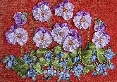 آموزش روبان دوزی,دوخت گل های روبانی
