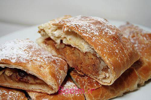 آموزش پخت شیرینی | طرز تهیه اشترودل سیب (بسیار خوشمزه)