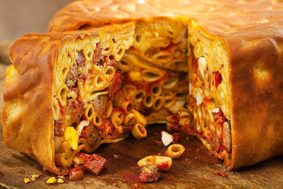 انواع ماکارونی | طرز تهیه ماکارونی به شکل کیک (بسیار خوشمزه)