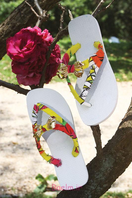diy-flip-flop-ideas-fabric-scraps-embellishments-golden-ribbons-ornaments