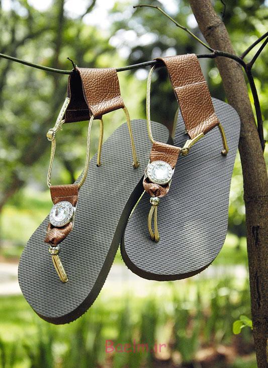 homemade summer sandals brown leather golden straps