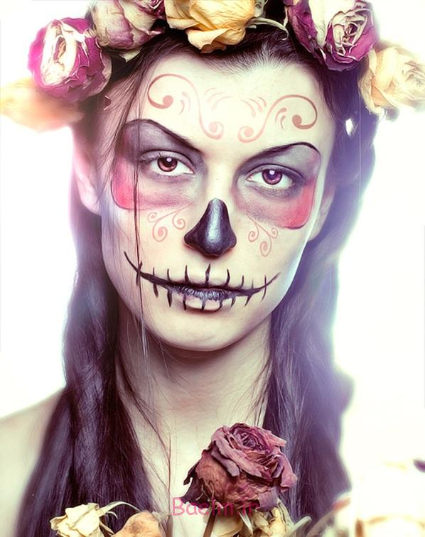 pretty sugar skull face roses pink yellow