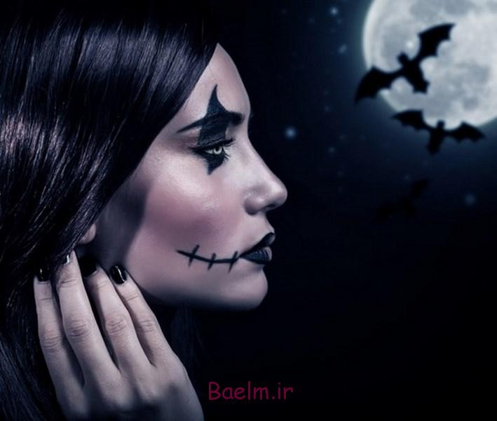 bat wing sewn cuts effect scary halloween makeup ideas side view