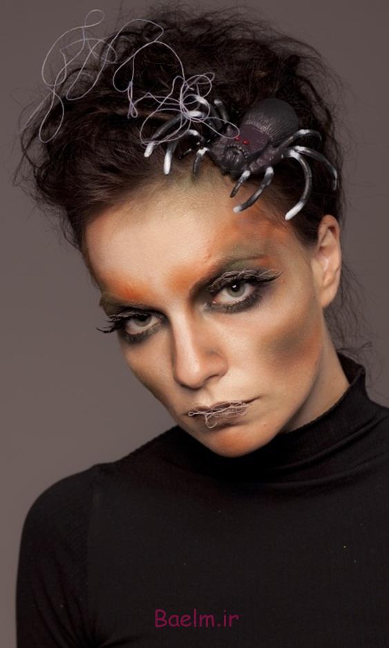 scary halloween makeup women spider hair spider web
