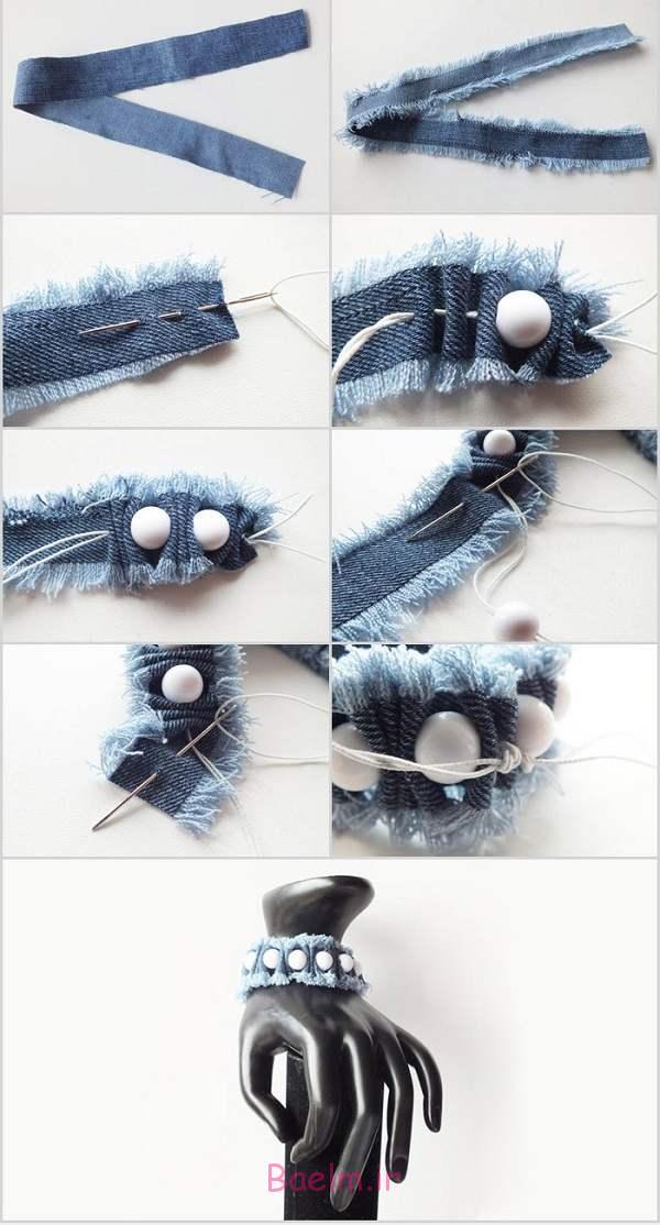 آموزش تصویری ساخت دستبند با پارچه و مهره , آموزش ایده های هنری,آموزش دستبند با مهره,آموزش دستبند با پارچه,آموزش دستبند دست ساز