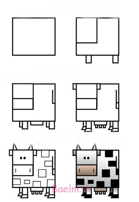 آموزش نقاشی   آموزش کشیدن گاو (بسیار ساده)