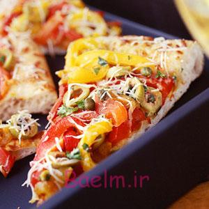 آموزش انواع پیتزا | طرز تهیه یک پیتزای کم کالری با فلفل دلمه ای در خانه (ساده و خوشمزه)