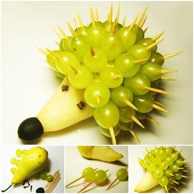 آموزش تصویری | تزئین میوه برای شب یلدا (درست کردن خارپشت)