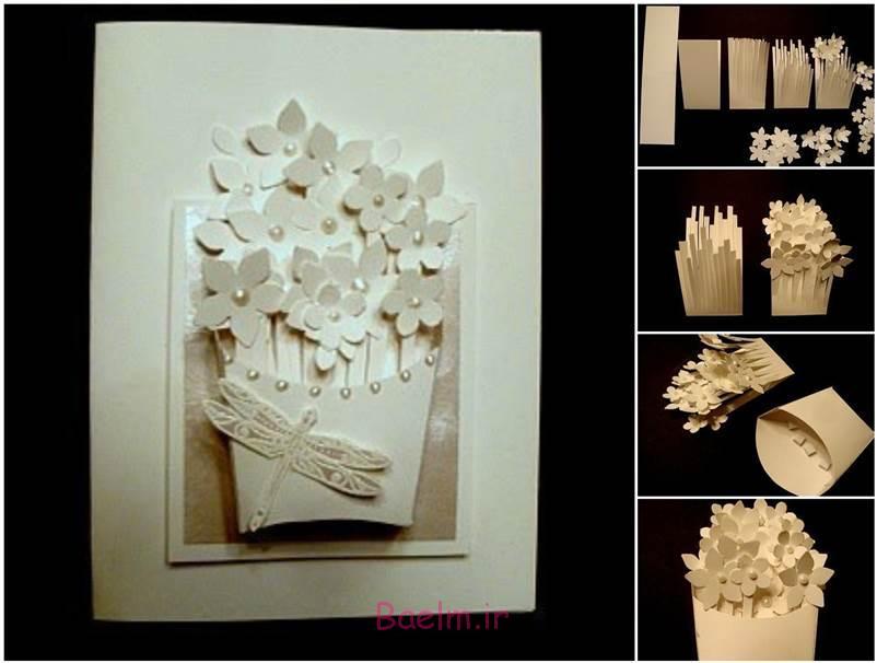 آموزش تصویری | درست کردن کارت پستال و گلهای کوچک با کاغذ (بسیار جالب و شیک)
