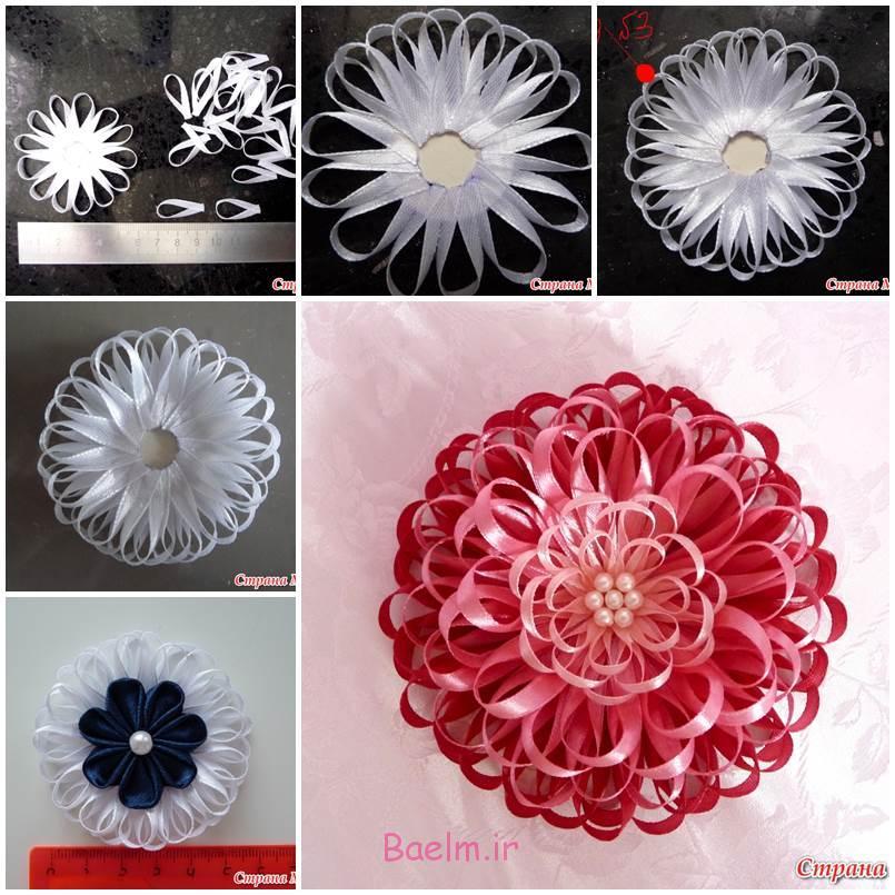 آموزش تصویری | آموزش درست کردن گل شیک با روبان ساتن