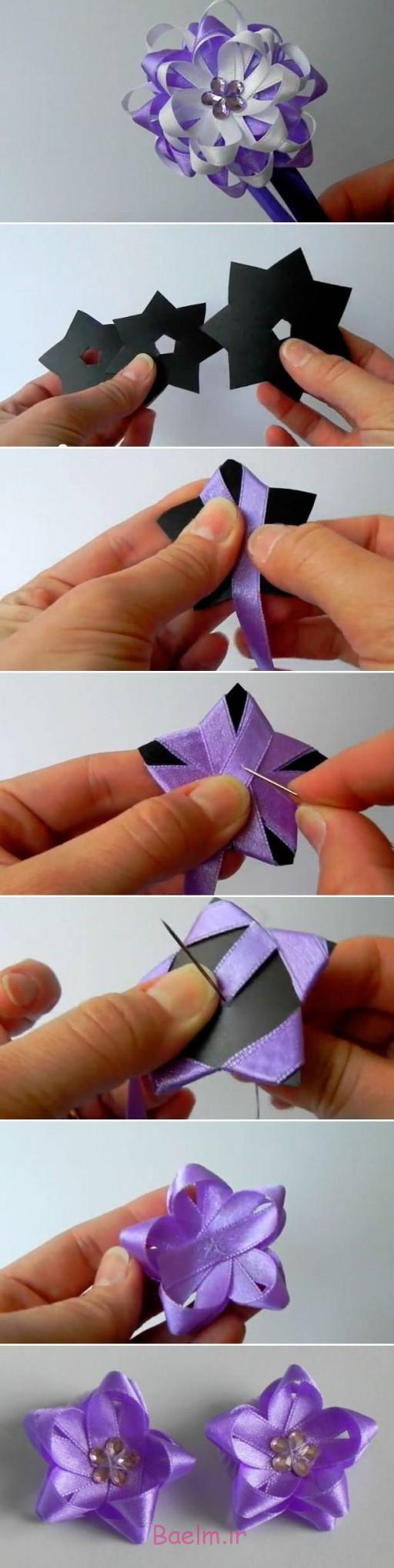 DIY آسان از جنس ساتن روبان گل کمان 1