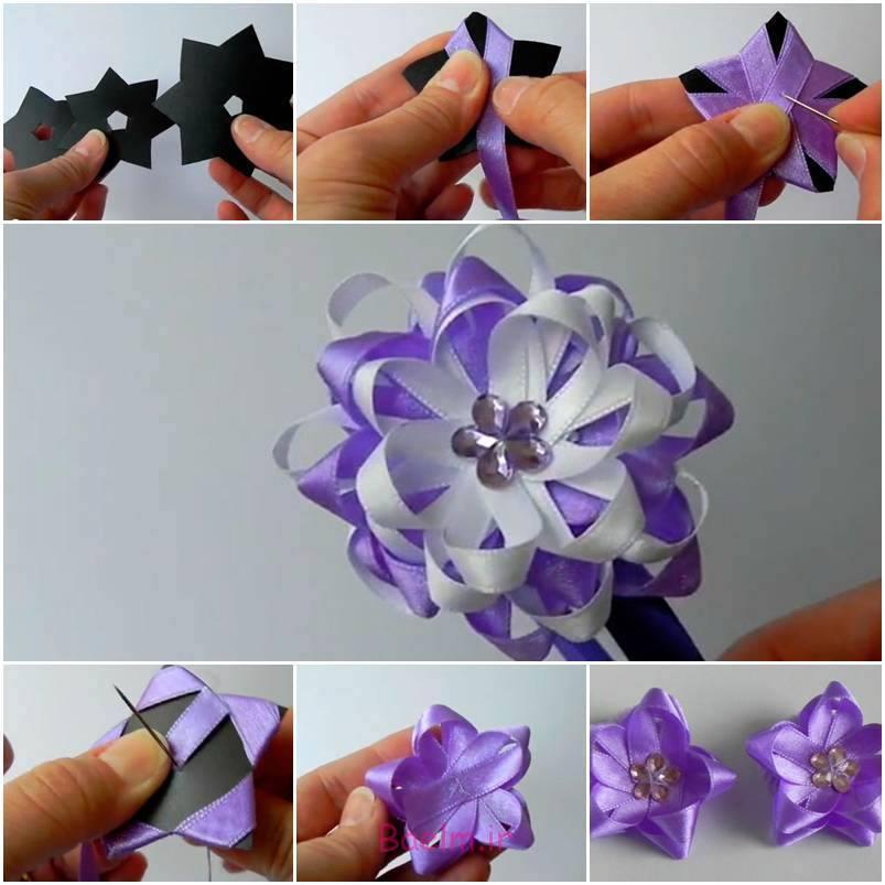 آموزش تصویری   آموزش درست کردن گل با نوار ساتن (سری 5)