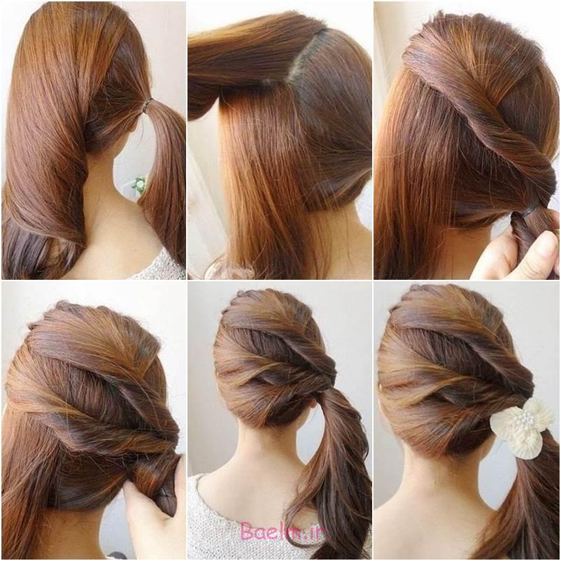 آموزش تصویری | آموزش بستن مو به شکل پیچ تو پیچ (مدل ساده و زیبا)