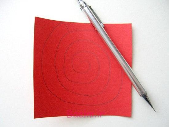 قلب DIY شکل کاغذ رز روز عشق تاج گل 1