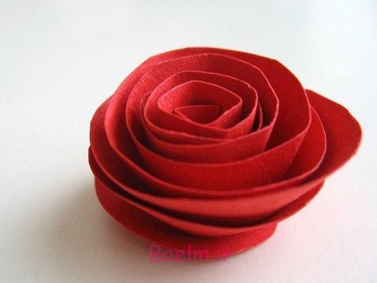 قلب DIY شکل کاغذ رز روز عشق تاج گل 4