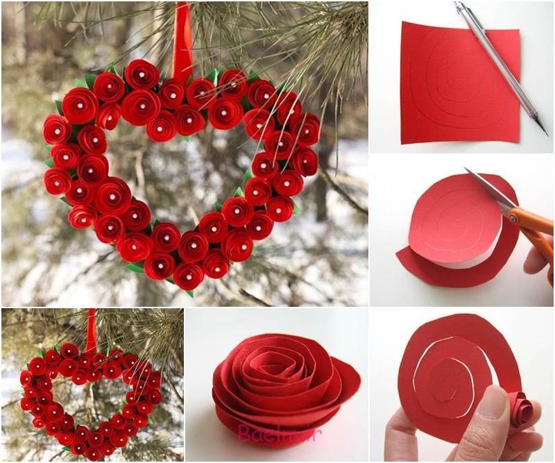 قلب DIY شکل کاغذ رز روز عشق تاج گل