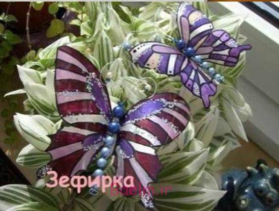 پروانه زیبا DIY از بطری های پلاستیکی 9
