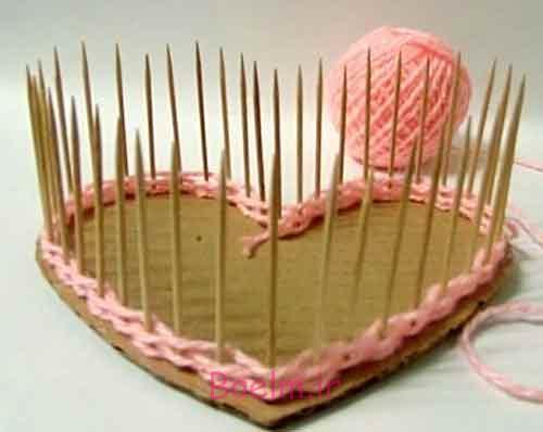 DIY زیبا نخ بافته شده قلب سبد شکل 2