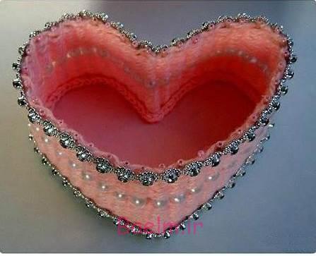 DIY زیبا نخ بافته شده قلب سبد شکل 6
