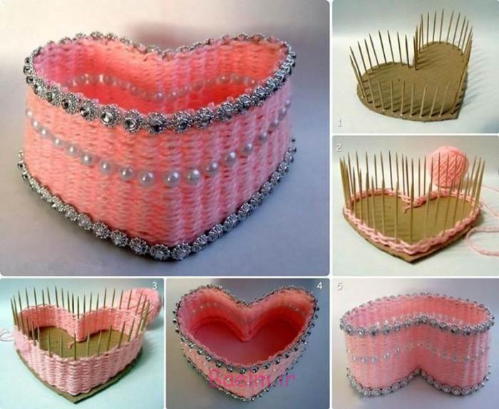 DIY زیبا سبد نخ بافته شده به شکل قلب