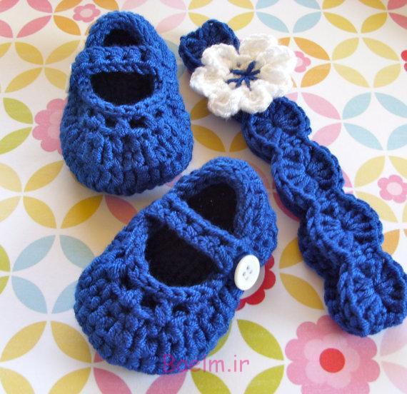 قلاب بافی | عکس های زیبا از کفش های بافتنی نوزاد (سری 3)