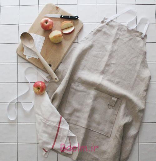 آموزش تصویری | آموزش دوخت پیش بند آشپزخانه از پارچه های کهنه کتان