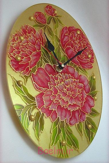 نقاشی روی شیشه | نمونه هائی از تزئین و ساخت ساعت های دیواری ( ويتراي )