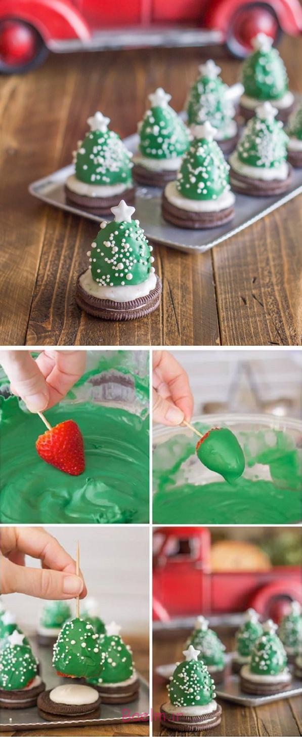 Chocolate Covered Strawberry Christmas Trees - DIY Recipe