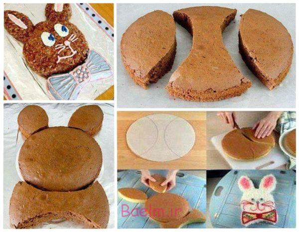 آموزش تصویری | تزئین کیک به شکل خرگوش پاپیون دار