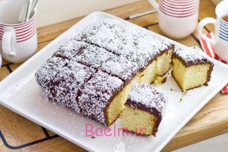 آموزش انواع کیک | طرز تهیه کیک خانگی لامینگتون مخصوص کشور استرالیا (بسیار خوشمزه)