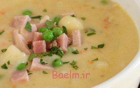 آموزش انواع سوپ | طرز تهیه سوپ شیر و ژامبون (بسیار خوشمزه)