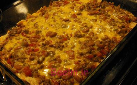آموزش غذاهای خارجی   طرز تهیه خوراک لوبیا مکزیکی با پنیر چدار