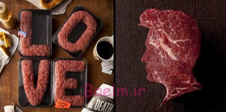 عکس های خلاقانه   هنرنمایی بسیار جالب و فانتزی روی گوشت
