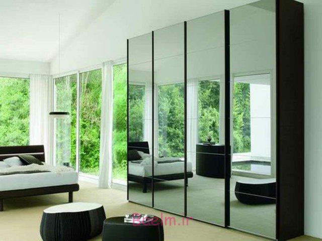 دکوراسیون مدرن ترین درب های کمد دیواری آینه دار اتاق