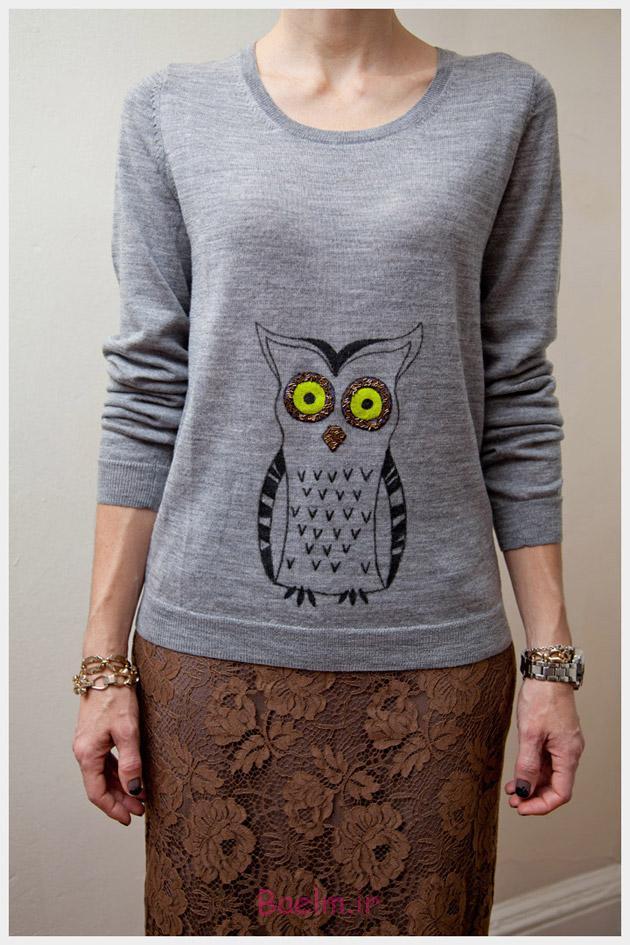 Owl Sweater DIY Detail