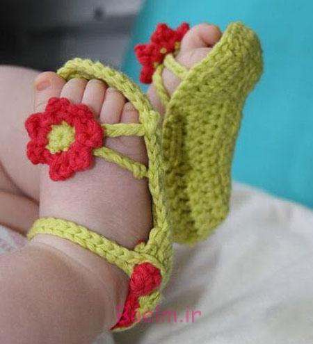 مدل های بافتنی | عکس پاپوش نوزادی قلاب بافی شده زیبا