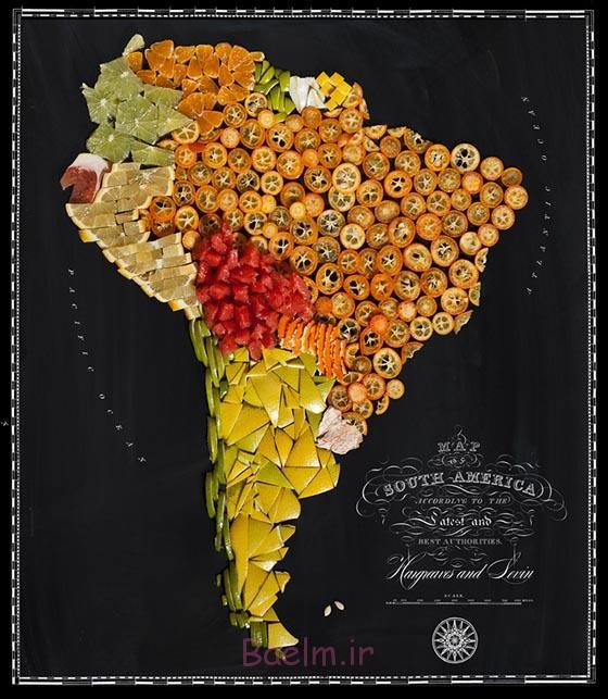عکسهای جالب | طراحی نقشه کشورها با میوه و سبزیجات طبیعی