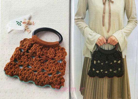 قلاب بافی   آموزش بافت کیف دستی زنانه همراه با الگو
