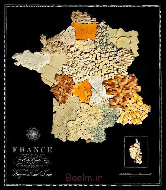 نقشه غذایی: جذاب نقشه کشورهای ساخته شده از مواد غذایی واقعی
