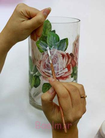 تزیین ظروف شیشه ای,آموزش دکوپاژ روی شیشه