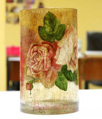 آموزش تصویری پتینه نما ترک و دکوپاژ بر روی گلدان شیشه ای