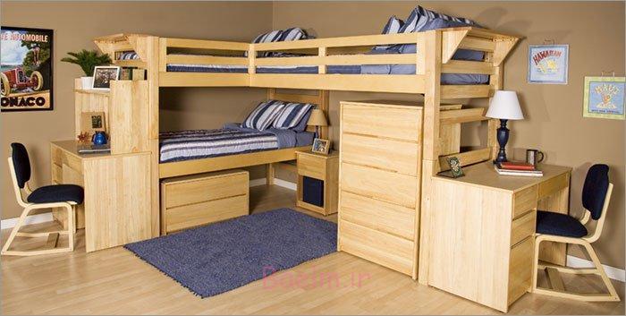 عکس های شیک   مدل های جدید از تختخواب های 3 نفره یا 3 قلو