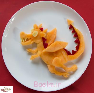 آموزش تصویری درست کردن میوه به شکل اژدها،آموزش فانتزی