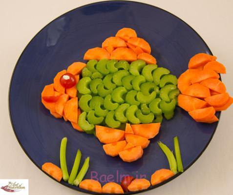 آموزش تصویری درست کردن سالاد به شکل ماهی،هنر خانه داری،تزئین ساده
